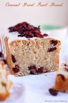 A simple, yet delicious quick bread packed with dried fruit and bursting with coconut flavor