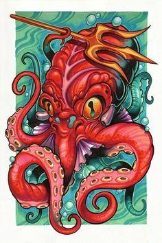 The Art of Tony Ciavarro ( Home) Caricaturas raras Octopus Tattoo Design, Octopus Tattoos, Octopus Print, Tatoo Art, Body Art Tattoos, Cool Drawings, Tattoo Drawings, Desenho New School, Desenho Tattoo