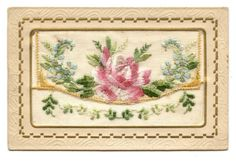 Carte EN Soie Brodée Fleur Flower Rose Vintage Greeting Cards, Old Postcards, Victorian Era, Images, Antiques, Paper, Hand Embroidery, Embroidered Silk, Embroidery