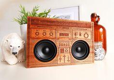 The Original Wooden Boombox - Custom Handmade Bluetooth Laser Engraved Mahogany Speakers Amplifier Audio Gadget Artists Illustration Detail