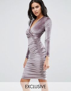 Club l Plus Size Midi Bodycon Dress With Lace Up Front in Black  a142b0cae