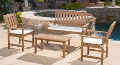 4 Piece Patio Table Chairs Chat Set Outdoor Furniture Wood Garden Deck Pool Yard #CKHome #ContemporaryModernRustic