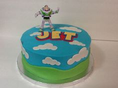 Buzz Lightyear cake - buttercream w/fondant decorations.  Wasn't about to try & make Buzz out of fondant!