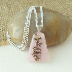 Small Pink Heather Flowers in Resin Pendant | wowthankyou.co.uk £10.00