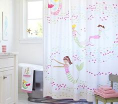 Pottery Barn Kids Mermaid Shower Curtain New Pink Girls Ocean Fish Sea Bathroom | eBay