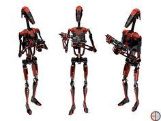 Dark Battle Droid - 1 by on DeviantArt Star Wars Rpg, Star Wars Film, Robot Samurai, Star Wars Battle Droids, Darth Bane, Galactic Republic, Star System, Star Wars Images, Star War 3