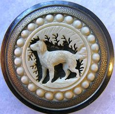 Victorian Carved Vegetable Ivory Hunting Button.