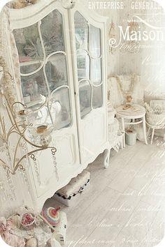 shabby chic white decor and storage