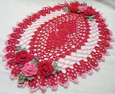 crocheted oval doily red pink handmade home decor by Aeshagirl