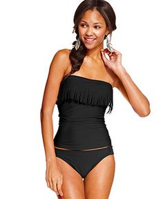 Hula Honey Fringe Bandeau Tankini Top & Side-Tab Hipster Bikini Bottom - Swimwear - Women - Macy's