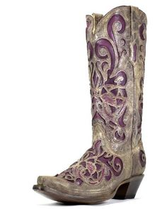 Corral Women's Brown Crater/Purple Inlay Boot