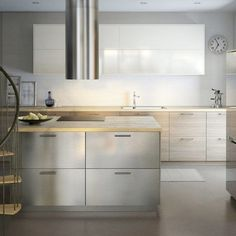 IKEA has everything you need to create a beautiful, European-style kitchen. Many Europeans prefer IKEA kitchens for their clean look, efficiency and more. Ikea Kitchen Design, Loft Kitchen, Kitchen Interior, Kitchen Ikea, Kitchen Hacks, Modern Ikea Kitchens, European Kitchens, Ikea Ringhult, Stainless Steel Kitchen Cabinets