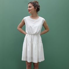 Buy the Violette Dress sewing pattern from Republique du Chiffon. A very easy to make dress with a relaxed fit. Viscose Dress, Viscose Fabric, Diy Vetement, Dress Making Patterns, Diy Dress, Sewing Patterns, White Dress, Style Inspiration, Summer Dresses