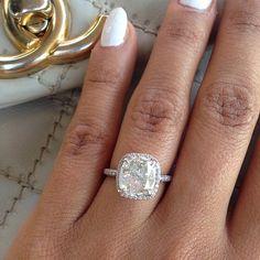 Bague fiançailles, solitaire, diamant, platine, taille asscher
