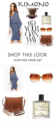 """""""Boho Kimono"""" by redviolet75 ❤ liked on Polyvore featuring Just Female, Oliver Peoples, Rebecca Minkoff, Miller Harris, Fountain and kimonos"""