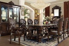 Beautiful Homey Design 7 Pc Queen Victoria II Collection Old World Style Dining Table  Set With Carved Accents And Tufted Seats. This Set Includes The Table And 2  ...