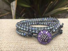 3-Wrap Bracelet - Grey Iridescent Quartz Leather Jewelry, Leather Bracelets, Aromatherapy Jewelry, Handmade Beaded Jewelry, Iridescent, Jasper, Crochet Hats, Quartz, Purple