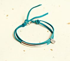 Suede Chic Sterling Silver Tube Leather Bracelet, Turquoise Leather Bracelet, Deerskin Leather, Buckskin, Silver Bar Bracelet