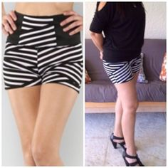 😳😳Crazy sale 😳😳Black & White stripe shorts Striped black and opaque white shorts with elastic band on waistline. 96% polyester and 4% spandex.  Several sizes available.  Lowest final price.  No offers accepted. Shorts