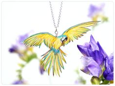 Kette mit Papagei Zeichnung Ara Vogelschmuck von fraufischers
