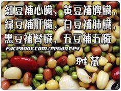 【紅豆補心臟,黃豆補脾臟,綠豆補肝臟,白豆補肺臟,黑豆補腎臟,五豆補五臟】