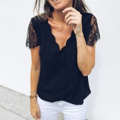 Vieunsta Sexy V-neck Lace Stitching Chiffon Blouse Women Shirt 2019 Fashion Sleeveless Strap Vest Blouses Summer Streetwear Tops Blouses & Shirts