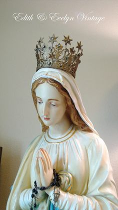 Amazing Church Statue Virgin Mary Large Kneeling by edithandevelyn on Etsy