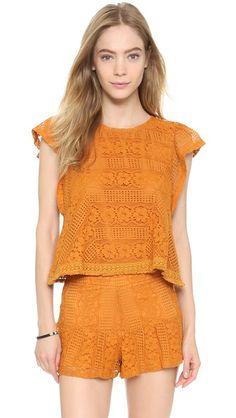 J.O.A. Ruffle Sleeve Lace Top #Shopbop