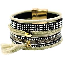 FUNIQUE Women Brazilian Bracelet Multilayer Boho Magnetic Leather Bracelet Braided Tassel Charm Wrap Bracelet Summer 19.5cm