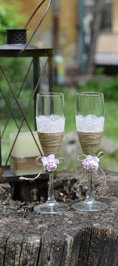 Burlap Lace Rose Toasting Flutes Rustic Dusty Pink Rose