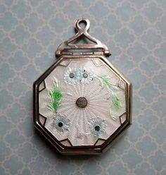 Art Deco Compact Locket with Guilloche Enamel and by MiladyLinden