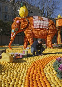 """The Lemon Festival in #Menton #France on the #French Riviera is going on now! It is based on the children's story """"Around the World in 80 Days."""""""