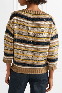 Shop on-sale Striped sequined cotton-blend sweater. Sweater Sale, Cardigan Pattern, Brunello Cucinelli, Shawls And Wraps, Knitted Hats, Knitwear, Couture, Knitting, Crochet