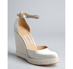 4f9813a35ed4c Beach wedding shoes for the vertically-challenged! Salvatore Ferragamo  silver satin and jute ankle strap espadrille wedges