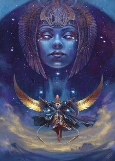 ArtStation - Age of Pantheons - Toth , Federica Costantini Egyptian Mythology, Egyptian Symbols, Egyptian Goddess, Ancient Egyptian Art, Isis Goddess, Ancient Aliens, Ancient Greece, Nut Goddess, Age Of Mythology
