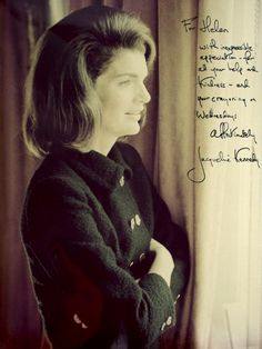 Photo inscribed to Helen Lempart Westbrook, who worked for Jackie and Jackie during the campaign and in the White House.  Then for Jackie in New York City,  She did secretarial work and acted as a confidante and adviser.