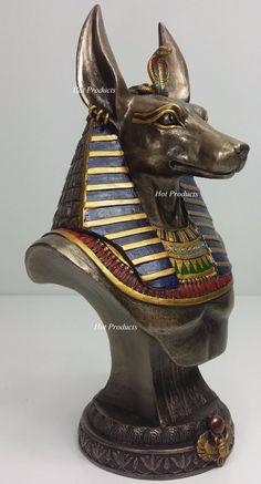 Egyptian Anubis Jackal Bust on Plinth Statue Sculpture Antique Bronze Color