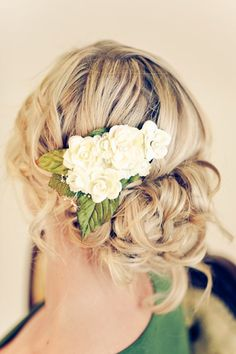 love the loose updo and the barette