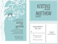 Budget Tree and Birds- Wedding Invitation suite:with matching RSVP  postcard blue and grey. $1.60, via Etsy.