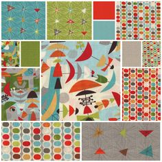 Mod Century by Jenn Ski for Moda Fabrics at CityCraft: Finally!!  The palette for my Guest Room!!