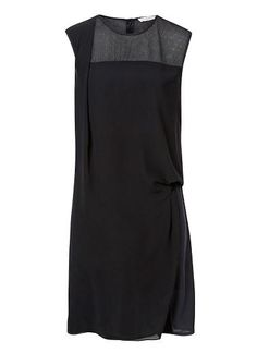 Polyester Evening Mesh Drape Dress. Neat fitting sleeveless style features a high neck with draped front panel and Mesh yoke, perfect for any formal occasion. Available in Black as seen below.