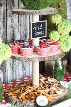 "Snack stand with pretzel ""twigs"" and apple chip ""leaves"" by Clean Eats & Treats - Geburtstag - Forest party theme Fairy Birthday Party, Boy Birthday Parties, Baby Birthday, Birthday Ideas, Lumberjack Birthday Party, Birthday Snacks, Boys 1st Birthdays, 3 Year Old Birthday Party, Animal Themed Birthday Party"
