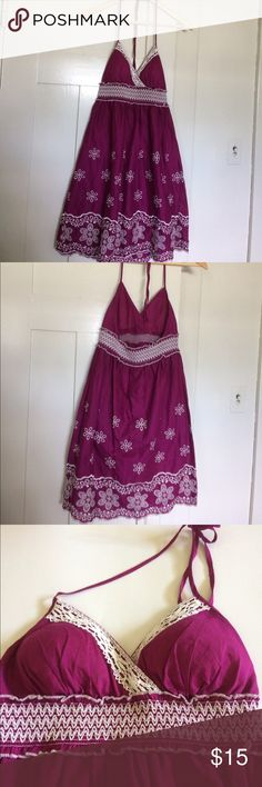 Heartsoul embroidered summer dress Heartsoul magenta embroidered summer dress. Padded top with elastic midriff. Dress is lined. I thought this might be a Junior dress.   Dress: 100% Cotton Lining: 100% Cotton Exclusive of elastic HeartSoul Dresses Midi