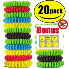 STURME 20 Pack Natural Mosquito Repellent Bracelets Waterproof Bug Insect Protection up to 300 Hours No Deet Pest Control for Kids Adults