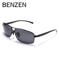 BENZEN Rectangular HD Polarized Sunglasses Men Al-Mg Frame Male Driver  Driving Sun Glasses UV 60940e441da7