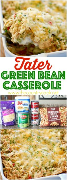 Easy Tater Green Bean Casserole recipe from The Country Cook. All the yummy flavors of our favorite green bean casserole but with a small twist. Perfect for the holidays! Thanksgiving Recipes, Holiday Recipes, Dinner Recipes, Christmas Recipes, Dinner Ideas, Thanksgiving Casserole, Christmas Dishes, Side Dish Recipes, Vegetable Recipes