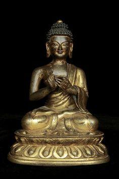 Buddha - China 18th century Bronze, gilding 14 cm