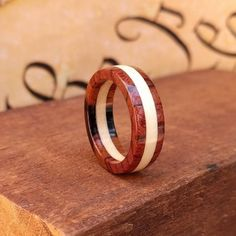 Wooden Ring - Men's Wooden Rings  Wooden Wedding Ring -  Wooden Promise Ring  - Woman's  wood rings - American Holly - Burmese Rosewood