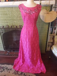 Check out this item in my Etsy shop https://www.etsy.com/listing/510205396/vintage-pink-lace-evening-gown-anns