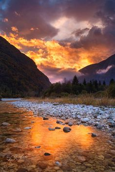 NARNIA SUNSET by Florian Warnecke on 500px.... autumn yellow trees sky landscape fog red sunset mountains water reflection nature river travel sun light clouds tree rocks colour fall mountain mirror slovenia